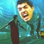 Luis Suarez in a spider's web