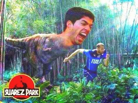 Luis Suarez as a dinosaur chasing a man